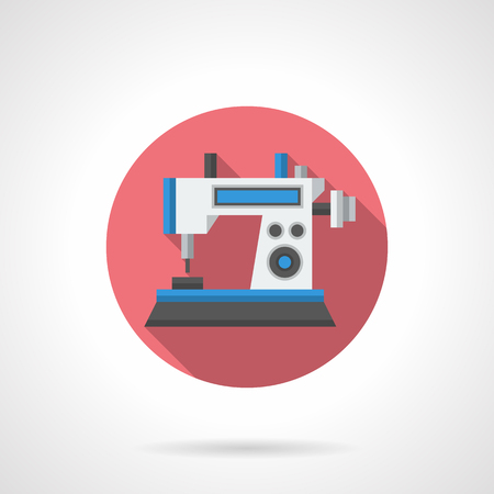 dressmaking: Dressmaking industry. Computer technology for sewing. Professional sewing machine. Round flat color design vector icon.