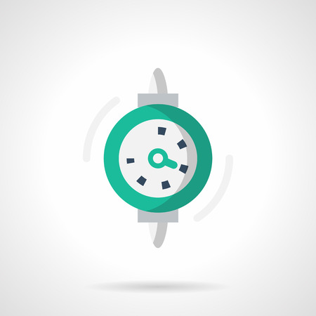 metrology: Green dial gauge or indicator. Instrument for change marks the parameters of the mechanical system. Measuring tools and equipment. Single flat color design vector icon.