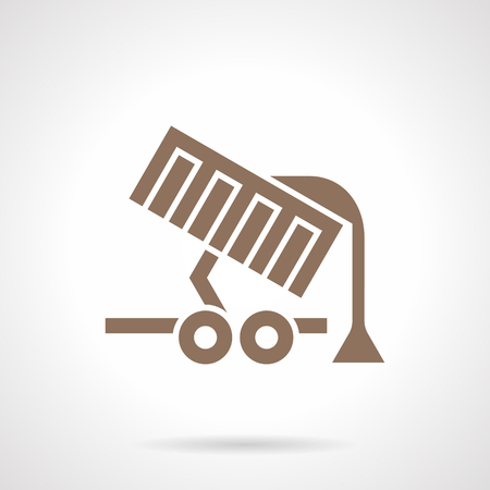 unloading: Monochrome silhouette symbol of grain unloading. Agriculture equipment and machinery. Farming lorry, transportation of bulk cargo. Symbolic brown glyph style vector icon.