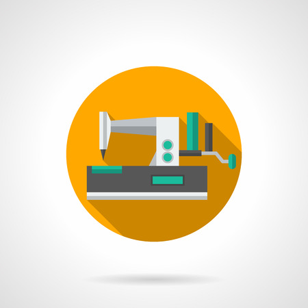 mending: Manual sewing machine with green elements. Equipment for tailoring, dressmaking, cloth mending. Yellow round flat design vector icon with long shadow. Illustration