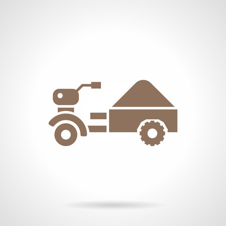 motor scooter: Small farming tractor with full trailer. Monochrome silhouette agriculture vehicle. Cargo motor scooter. Symbolic brown glyph style vector icon.
