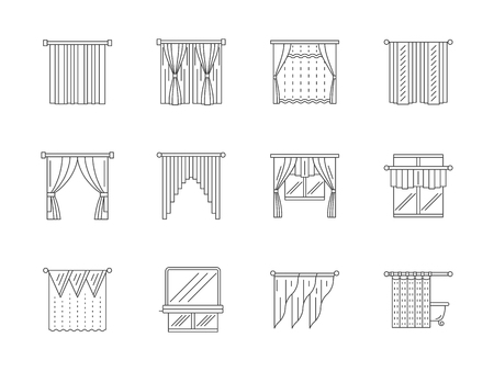 kitchen shower: Different curtains and blinds for interior design. Living room, kitchen, cafe, shower curtain and others. Set of flat line style vector icons. Illustration
