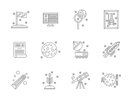 Space exploration concept. Expedition to Mars and Moon for discovery and research. Outer space equipment. Set of flat line style vector icons.