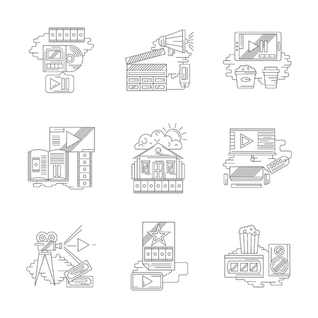 home entertainment: Cinema industry theme. Home movie, film making, entertainment elements, online cinema tickets ordering and others. Set of detailed flat line vector icons. Web design elements. Illustration