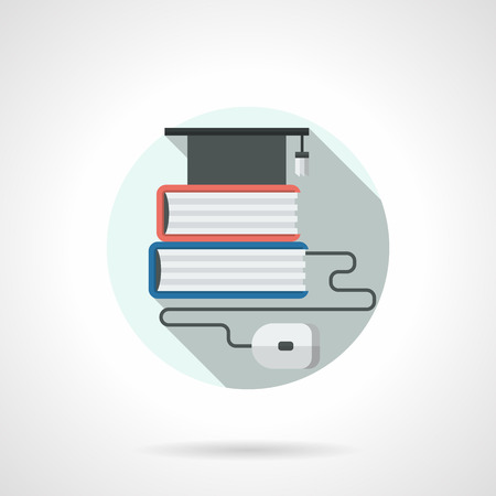 web cap: Graduation cap on book stack and computer mouse. Concept for distance education and e-learning. Round detailed flat color style vector icon. Web design elements.