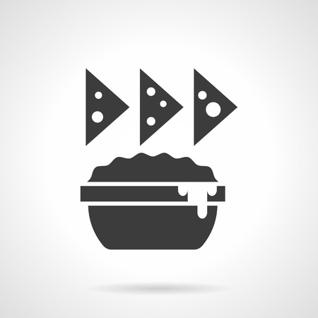 chips and salsa: Monochrome silhouette of nachos and sauce dish. Chips, cheese appetizer menu. Mexican food. Symbolic black glyph style vector icon. Illustration