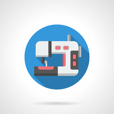 dressmaking: Dressmaking equipment symbol for store, blog, website. White sewing machine with red elements. Round flat color style vector icon. Illustration