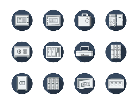 valuable: Equipment for keeping money in bank, office, home. Safe of valuable documents and jewelry. Safe box and lockers. Round flat color vector icons set. Web design elements for business, site, mobile app.