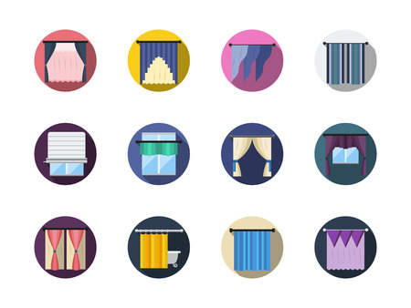 window shades: Various blinds and curtains, drapery, shades. Window treatments and decor. Room interior. Round flat color vector icons set. Web design elements for business, site, mobile app.