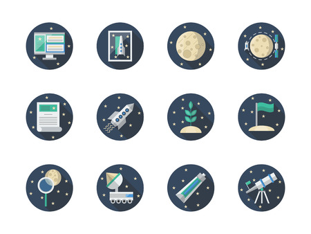 moon rover: Space research concept. Discovery travel, cosmos exploration. Expedition to Moon or Mars. Round flat color vector icons set. Web design elements for business, site, mobile app.