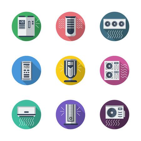 elettrodomestici e attrezzature. Sistema di aria condizionata. Condizionatori. refrigeratori e telecomandi. Rotondo Colore piatto vettore impostare le icone. elementi di web design per le imprese, sito, app mobile. Vettoriali