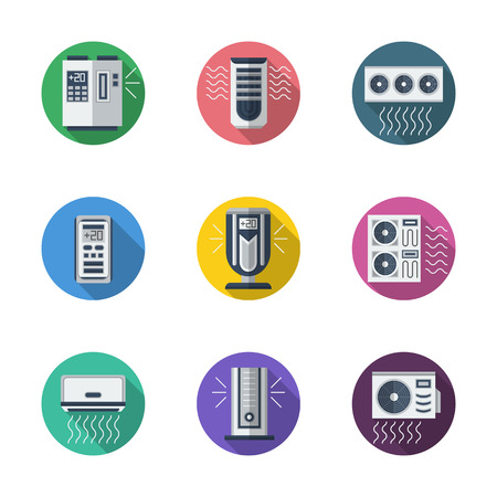 acclimatization: Household appliances and equipment. Air conditioning system. Conditioners. coolers and remote controllers. Round flat color vector icons set. Web design elements for business, site, mobile app.