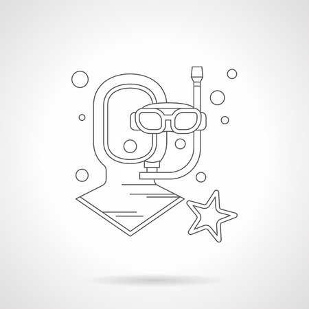 wetsuit: Neoprene diving helmet and mask with tube, bubbles and starfish. Outfit and wear for water sport, part of wetsuit. Single detailed flat line vector icon. Web design element. Illustration
