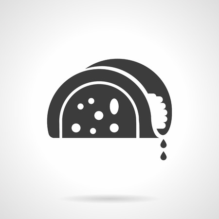 Monochrome silhouette of taco. Mexican cuisine menu. Tortilla with different filling. Symbolic black glyph style vector icon.