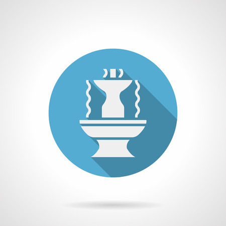 water flows: White silhouette of fountain with long shadow design. Stone shaped bowls with abstract water flows. Decoration for gardens, parks and other places. Round blue flat style vector icon.