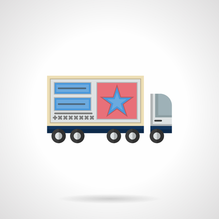 movable: A side view of cargo truck with advertise posters on a trailer. Outdoor advertising elements and objects. Mobile or movable promotion ads. Flat color style vector icon. Illustration