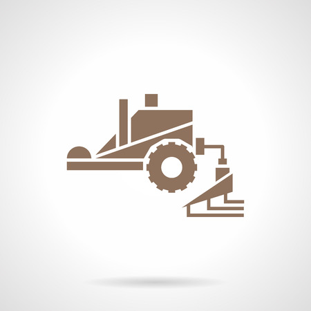 crop sprayer: Machinery for crop improvement. Tractor spraying agricultural chemicals pesticide. Farming equipment. Symbolic brown glyph style vector icon. Illustration