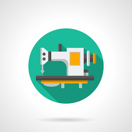 hardware store: Sewing machine on table. Hardware store, services of seamstresses. Tailor shop equipment. Round flat color style vector icon.