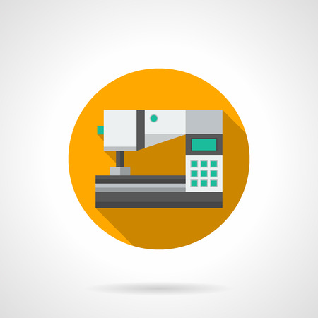 dressmaking: Professional sewing machine with computer control. Modern technology for tailoring and dressmaking. Round yellow flat color style vector icon.