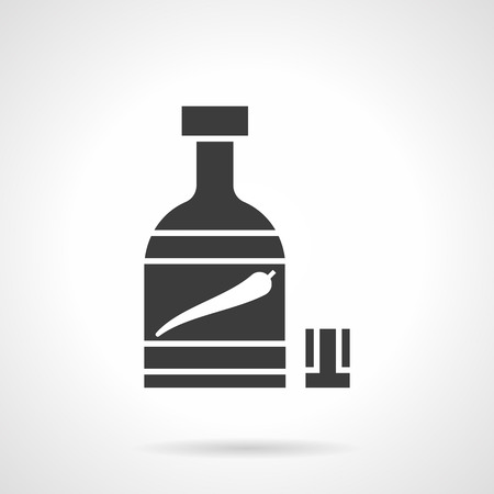 tincture: Monochrome silhouette of bottle and glass. Pepper tincture. Chili pepper with alcohol drink, chili oil. Hot spicy menu. Symbolic black glyph style vector icon.