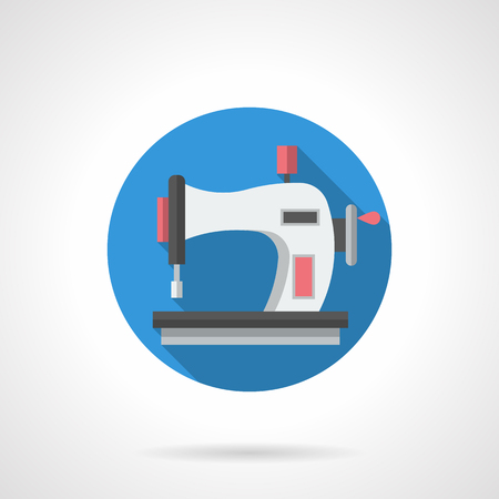 tailoring: Seamstress and tailoring equipment. Sewing machine pictogram for DIY or hobby blog. Fashion industry. Round flat color style vector icon.