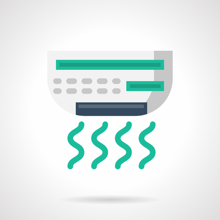 Air conditioner for office. Cooling equipment and appliances. Freshness and temperature regulation in warmth season. Climatic technics. Flat color style vector icon. Illustration
