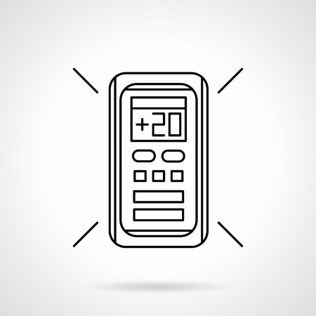 temperature controller: Remote controller for air conditioner with temperature 20 on display. Modern technology for home climate regulation. Flat line style vector icon.