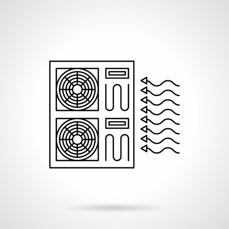 refrigeration: Industrial air conditioning system. Conditioners for supermarkets, bakeries, warehouses. Climatic technics and equipment. Flat line style vector icon. Illustration