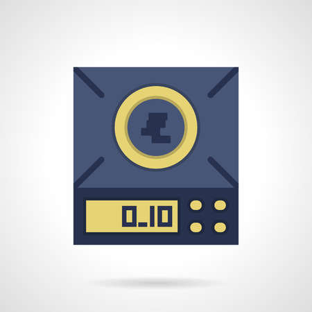 precision: Blue digital scales with display and button panel. Equipment for measuring small weights with precision to two decimal places. Device for market, laboratory, jewelry store. Flat color vector icon.