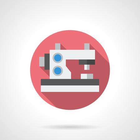 textile machine: Special sewing machine for making embroidery on clothes. Textile decoration. Equipment for studio, atelier, domestic dressmaking services. Round flat color style vector icon.