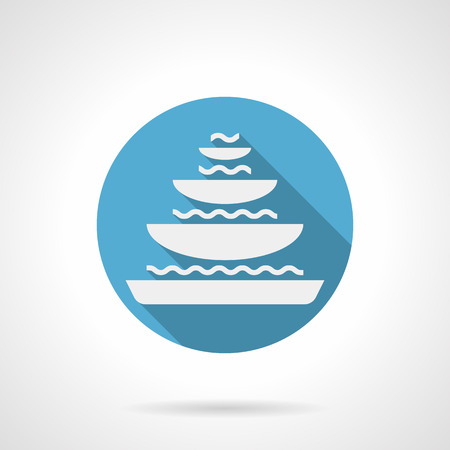tier: White silhouette sign of tiered fountain with bowls and water. Stone decoration and fountains for garden, pond, parks and others. Round flat color style vector icon. Illustration