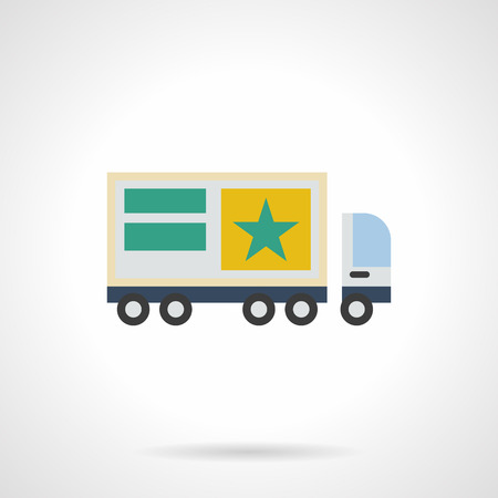 movable: Outdoor advertising elements and objects. Truck with sample advertise. Commercial ads for lorry, movable promotion sites. Flat color style vector icon.