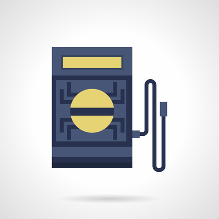 tester: Blue voltmeter with yellow display and single wire. Electric tester device. Measuring equipment and instruments. Flat color style vector icon. Illustration