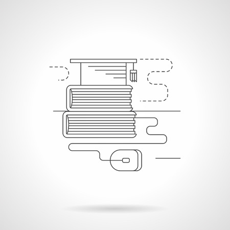 web cap: Graduation cap on books stack and computer mouse. High school or university e-library, web services for students. Detailed flat line vector icon. Web design elements for business, site, mobile app.