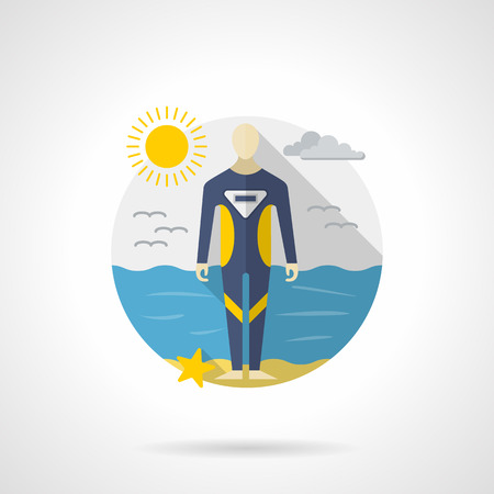 wetsuit: A person wearing in a blue wetsuit for snorkeling standing on a sea coast. Sunny seascape. Water sport, scuba diving tourism. Round detailed flat color style vector icon. Web design elements.