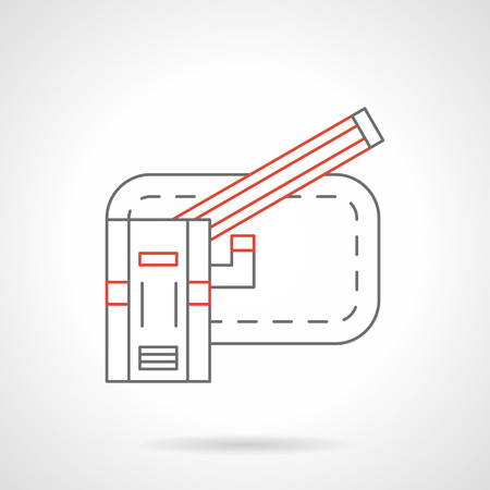 Open automatic barrier with red bar. Traffic controlling elements and objects, checkpoints. Flat black and red line vector icon. Ilustracja