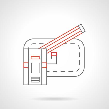 Otwórz automatyczną barierę z czerwonym paskiem. Elementy sterujące ruchem i obiekty, punkty kontrolne. Ikona wektor płaski czarny i czerwony linii.
