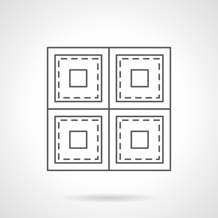 square sheet: Sheet linoleum with square pattern. Store of floor covering. Repair and improvement works service. Flat line style vector icon. Illustration