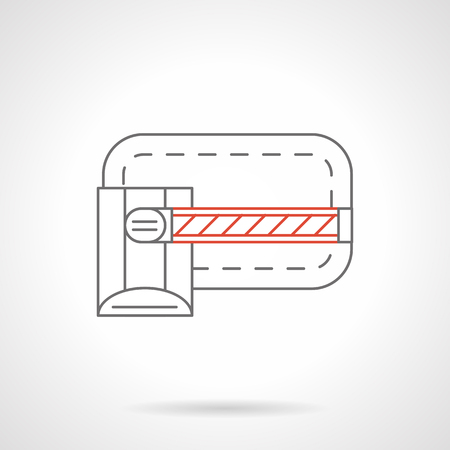 barrier gate: Closed gate barrier. Equipment and devices for obstruction path or traffic, control of entry and exit of transport. Flat black and red line vector icon.