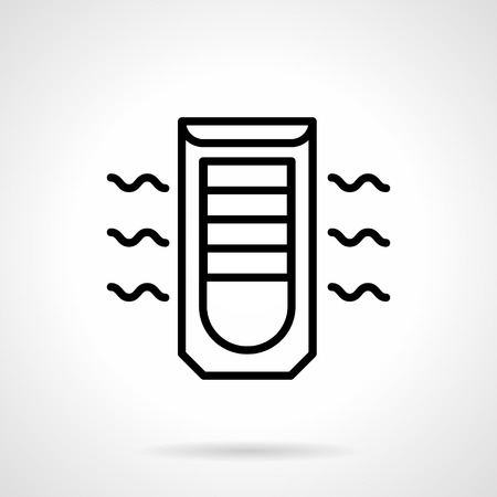 climatic: Mobile air conditioning device. Household equipment and appliances, modern climatic technics. Simple black line vector icon.