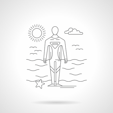 protective wear: Seascape with sunny sky and diver in water protective wear. Diving and surfing waterproof suit, sport clothing. Detailed flat line vector illustration.