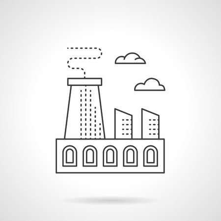 heavy metal: Metal processing plant. Industrial buildings, factories and plants. Heavy industry structure with chimneys. Flat line style vector icon. Illustration