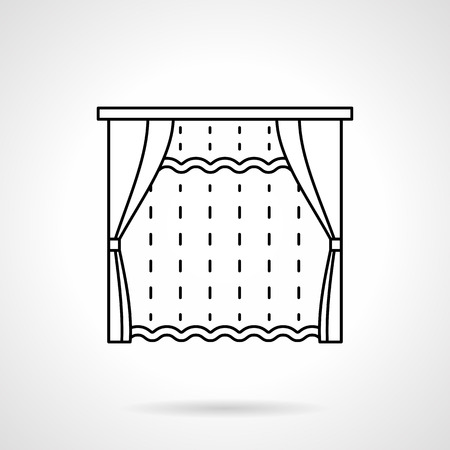 hotel bedroom: Room window with blinds and tulle curtain. Textile decoration for bedroom, living room, hotel interior. Blinds, curtains and drapery theme. Flat line style vector icon.