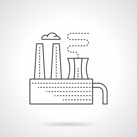 sewage system: Factory building with chimney and smoke. Plant of processing chemical waste. Industrial sites and objects. Flat line style vector icon.