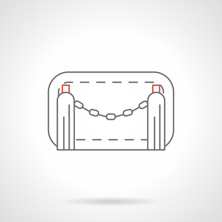 barricades: Chain road barrier for limiting and control access to parking, territory of pedestrian zones and restricted traffic. Fences, gates and barricades. Flat line style vector icon. Illustration