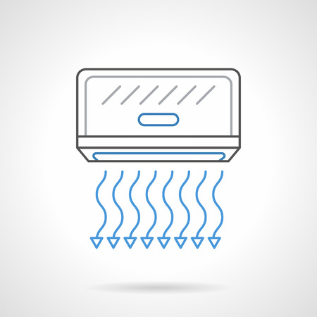 climatic: Air cooling device, air conditioner with blue blowing arrows. Climatic technics for home and office. Hardware store, appliances repair services. Flat black and blue line vector icon.