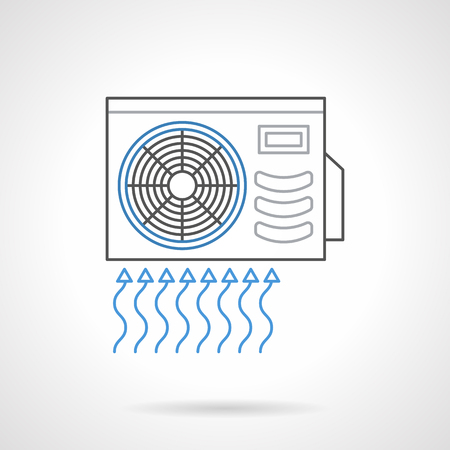 intake: Outdoor unit of air conditioner, split system. Device for wall mount for air intake, cooling and cleaning. Climate technics. Flat line style vector icon. Illustration