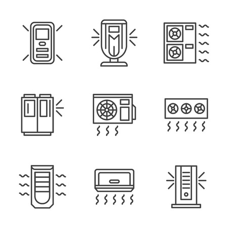 climatic: Air conditioners and air filter cleaning systems. Climatic equipment and appliances. Vector collection of simple black line style icons. Illustration
