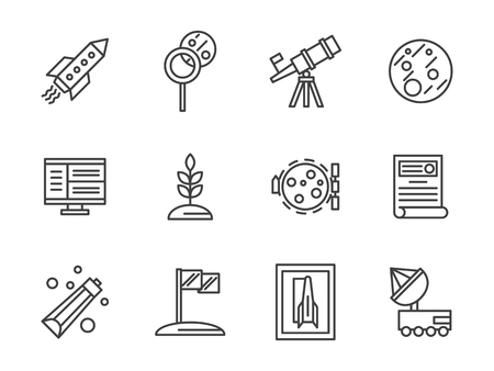 aerospace: Rocket, Mars and Moon, rover robot and equipment for scientific exploration of space. Cosmos and aerospace theme. Vector collection of simple black line style icons.