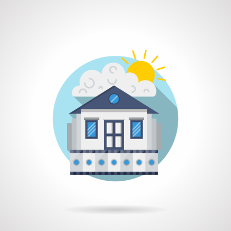 premiere: Exterior of house with blue roof and film strip, sunny sky. Cinema house concept. Film premiere. Round detailed flat color style vector icon. Web design elements. Illustration
